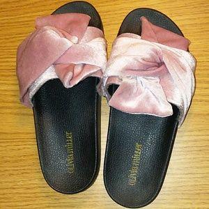 Olivia Miller Pink Velvet Bow Slides